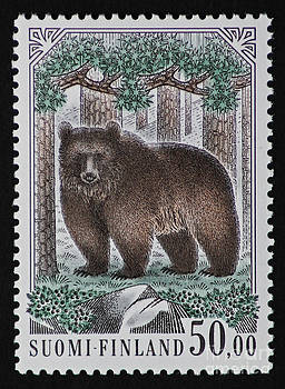 Bear Vintage Postage Stamp Print by Andy Prendy