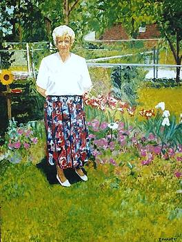 Bernice Forrest in her Backyard 1995 by Terry Forrest