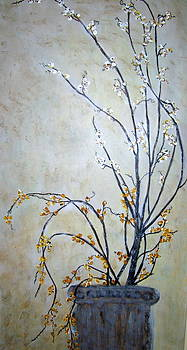 Berried Branches In Grecian Urn by Melynnda Smith