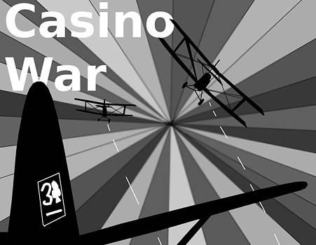 Bi-Planes Fight Casino War Propaganda Poster by Casino Artist