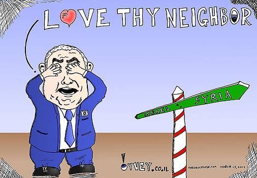 Bibi Love Thy Neighbor Cartoon by Yasha Harari