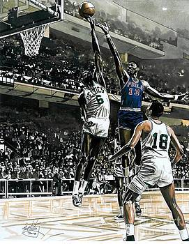 Bill Russell and Wilt Chamberlain by Neal Portnoy