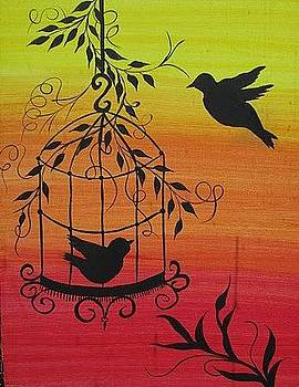 Bird cage Silhouette by Archana Kari