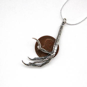 Bird Foot Pendant Necklace in Solid Sterling Silver by Michael  Doyle