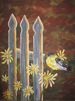 Bird on fence by Archana Kari