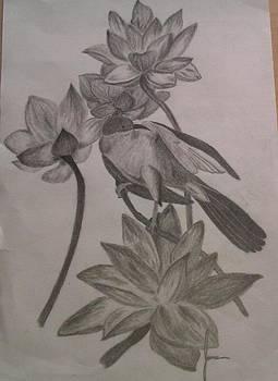Bird On Flower by Jamie Mah