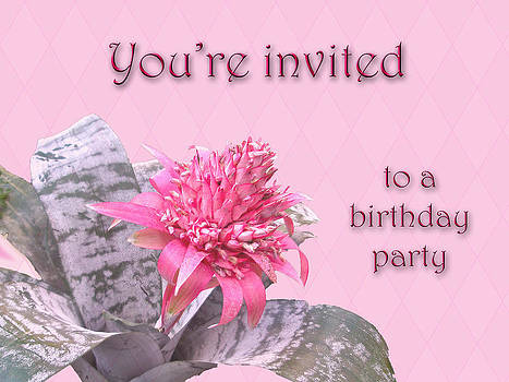 Mother Nature - Birthday Party Invitation - Pink Flowering Bromeliad