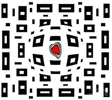 Geometric Abstract Black White Red Art No.220. by Drinka Mercep
