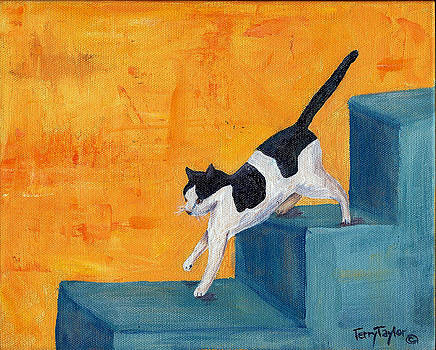 Black and White Cat Descending Blue Stairs by Terry Taylor