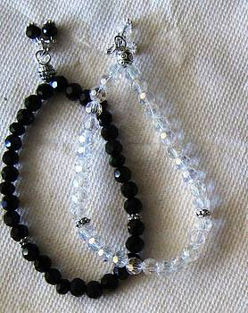 Black and White Crystal Bracelet by Fatima Pardhan