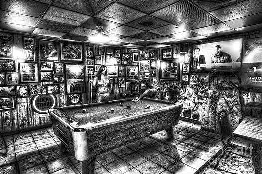 Dan Friend - Black and White girls playing pool in bar