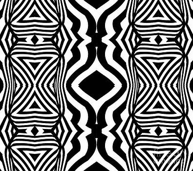 Pattern Black White Geometric Art No.305. by Drinka Mercep
