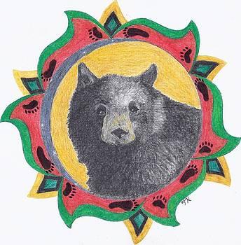Black Bear Head Study with border by Tony  Nelson