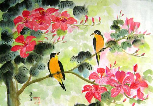 Black Bird On Floral Tree by Lian Zhen