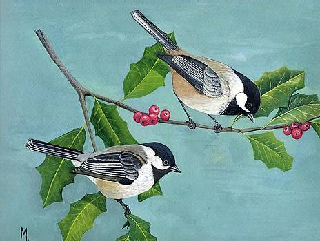 Black-capped chickadees by Marsha Friedman