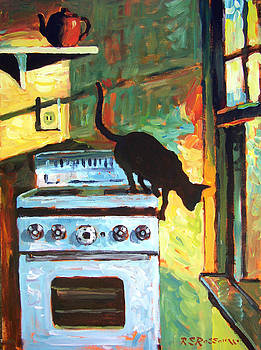 Black Cat in the Kitchen by Roelof Rossouw