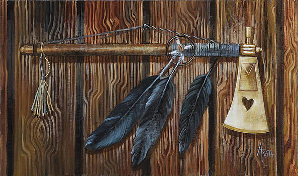 Black Feather Tomahawk  by Geraldine Arata