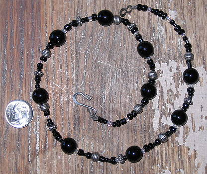 Black Glass Beads with Bali Accent Choker by Elizabeth Carrozza
