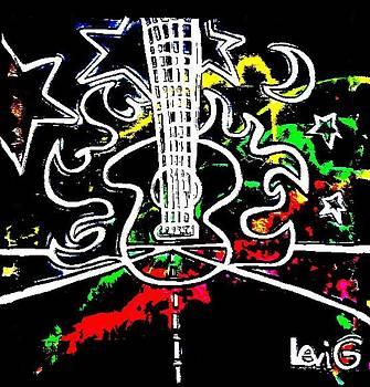 Black light neon splash Flaming Guitar on highway by Levi Glassrock