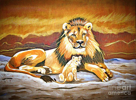 Black Maned Lion and Cub by Phyllis Kaltenbach