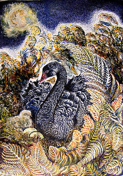 Black Swan  Mother and Cygnet no 2  by Helen Duley