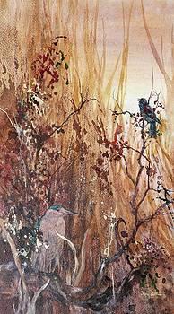 Blackbird and Night Heron by Floy Zittin