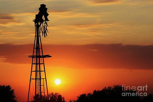 Blazing Orange Sky with Windmill silhouette by Robert D  Brozek
