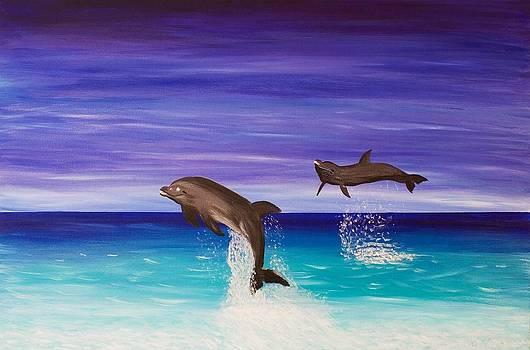 Blissful Dolphin Swim by Liz Angeles