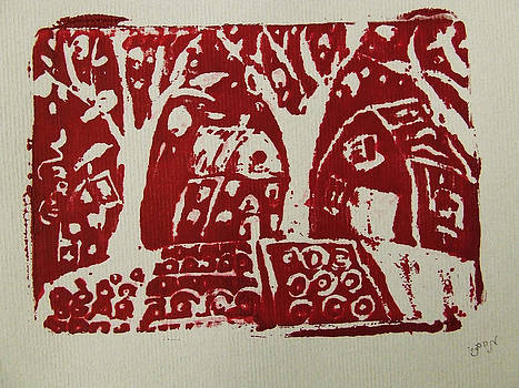 Blood Rituals in Red for the Mayan Forest Agriculture with trees houses and land plots by M Zimmerman