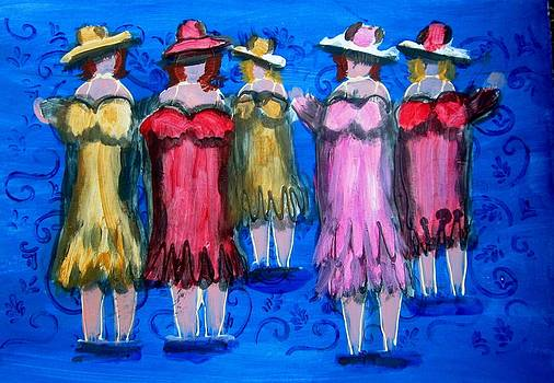 Blue and Pink Ladies by Beverly Hart