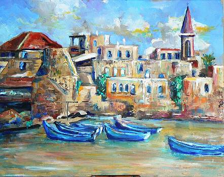 Blue boats  by Baruch Neria-Kandel