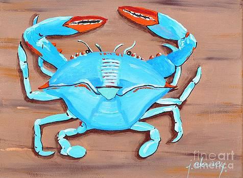 Blue crab on wood by Jolaine Goldman