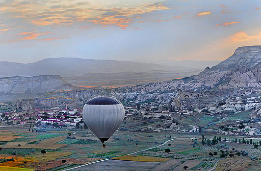 Kantilal Patel - Blue Grey Balloon over Cappadocia