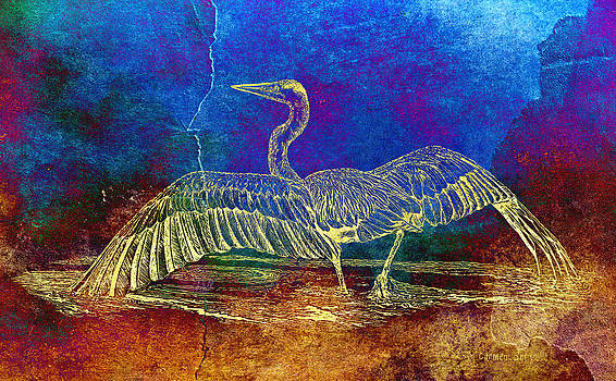 Carmen Del Valle - Blue Heron Textured Color