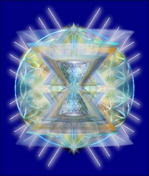 Blue High-Starred Chalices on Flower of Life by Christopher Pringer