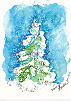 Blue Mood Christmas Tree by Michele Hollister - for Nancy Asbell