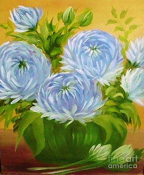 Peggy Miller - Blue Mums in vase