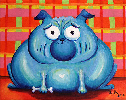 Blue Pudgy Pug by Jennifer Alvarez