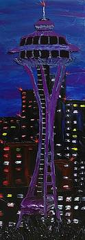 Blue Purple Night Of The Space Needle by Portland Art Creations