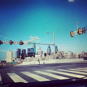 Blue Sky At A Red Light. #philly by David F