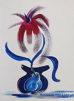 Blue Vase Red Flower by Suzanne  Marie Leclair