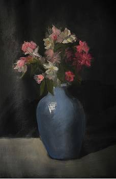 Blue Vase With Flowers by Joyce Colburn