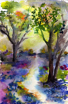 Ginette Callaway - Bluebell Forest Watercolor Painting