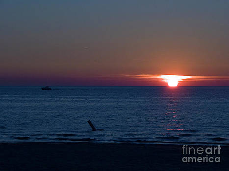 Tim Mulina - Boat and Sunset on Lake Michigan