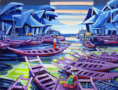 Boats and Huts by Aung Min Min