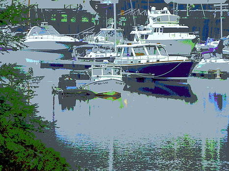 Boats at Rest in Yarmouth Maine Marina by Merridy Jeffery