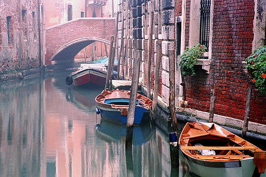 Boats Bridge and Reflections in a Venice Canal by Greg Matchick