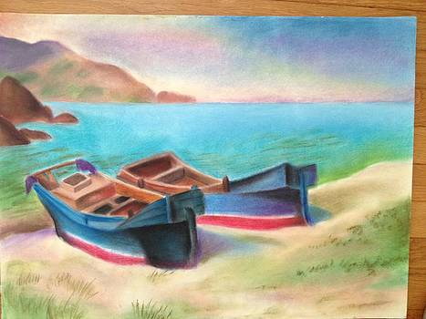 Boats near the Shore by Annie S Xiong