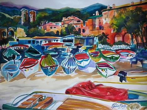 Boats of Cinque Terre by Therese Fowler-Bailey