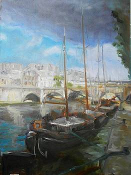 boats on Seine by Anna Kowalewicz